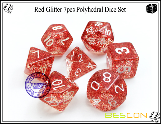 Assorted Colored Glitter 7pcs Polyhedral Dice Set-12