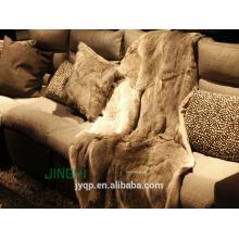 Fruffy high quality luxurious rabbit fur throw large blanket
