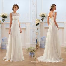 Vestido de boda bohemio de gasa de encaje francés