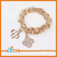 Small Cross Flowers Pendant Handmade Metal Bracelet Charm Bracelet