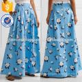 New Fashion Plissee gedruckt Baumwolle Maxi Rock DEM / DOM Herstellung Großhandel Mode Frauen Bekleidung (TA5148)