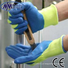 NMSAFETY Uso industrial de fabricação de vidro 13G fibra de aramida forro de espuma revestida de nitrilo luvas anti corte