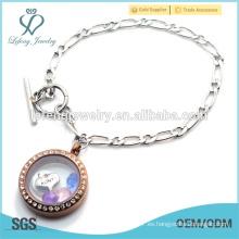 Personalizado acero inoxidable 1: 1 NK cadena pulsera flotante locket, pulsera de plata y chocolate locket