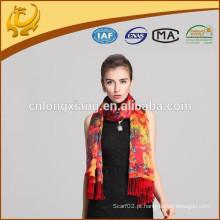 Cachecol de seda de seda de moda nova robô e xaile estampado de padrão impresso