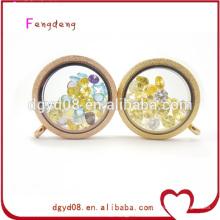 25mm o 30mm cofre de forma redonda y medallón flotante de memoria viva de cristal de oro