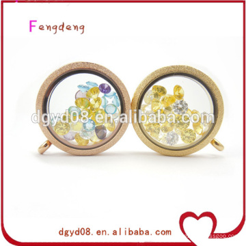 25mm or 30mm round shape coffe and gold glass living memory floating locket