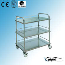 Three Shelves Stainless Steel Hospital Medical Dressing Cart (Q-11)