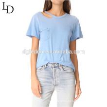 Camiseta de la blusa de las mujeres de la manga corta del diseño del fabricante de la ropa de la alta calidad