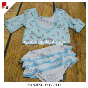 JannyBB design blue floral newborn baby swimsuit