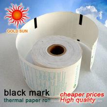 rolo de papel térmico de marca preta