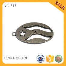 MC515 Zinc alloy custom metal hang tag design