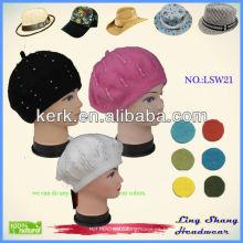 La nueva venta caliente Mutiple de la manera colorea el casquillo 100% del sombrero de la gorrita tejida del artista francés de la boina de las lanas de las mujeres
