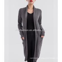 Cashmere knit pattern cardigan aberto extra longo para mulheres 2017
