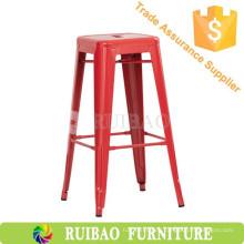 Red Aluminium Industrial Metal Bar Stuhl für Küche