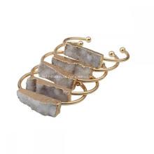 Mode Natürliche Echte Bunte Drusy Kristall Cluster Charme Armbänder Vergoldet Kupfer Armreif Plain für frauen Mädchen Schmuck