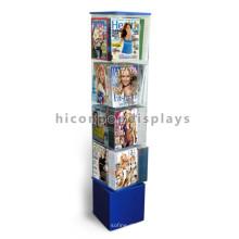 Drehender Lager-Regal-Holz-Unterseiten-Acryl-Halter-ständige Zeitung und Comic-Buch-Anzeigen-Zahnstange