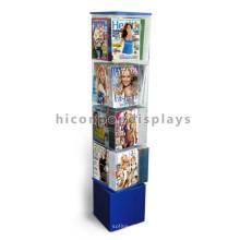 Loja giratória prateleira suporte de acrílico base de madeira suporte de jornal e compartimento de exibição de quadrinhos