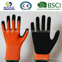 Revestimiento de nitrilo, guantes de trabajo de seguridad de acabado de arena (SL-NS108)
