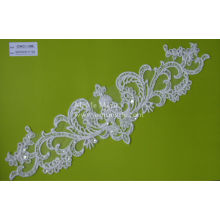 Hochzeitskleid-Spitze-Ordnung mit Sequins-weißen Schnur-Spitze-Gewebe CMC118B