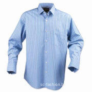 Men's Striped Casual/Dress Shirt with Long Sleeves and 100% Cotton, Yarn-dyed