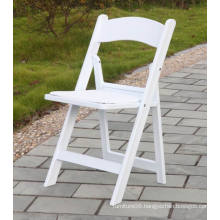 Padded White Resin Folding Chair