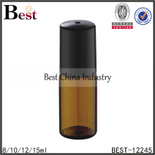 10ml amber glass roll on bottle with black cap for perfume oil
