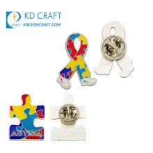 Wholesale Metal Colorful Hard Enamel Epoxy Puzzle Ribbon Shape Custom Awareness Autism Pin Badge