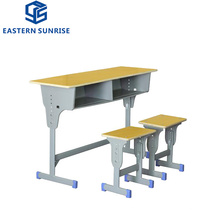 Height Adjustable Double Desk and Chair for School