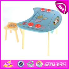 2014 Table et chaise en bois pour enfants, Table et chaise en bois d'étude pour les enfants, Table et chaises en bois de vente chaude jouet W08g127