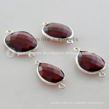 Handmade 925 Sterling Silver Red Garnet Bezel Setting Natural Gemstone Connector
