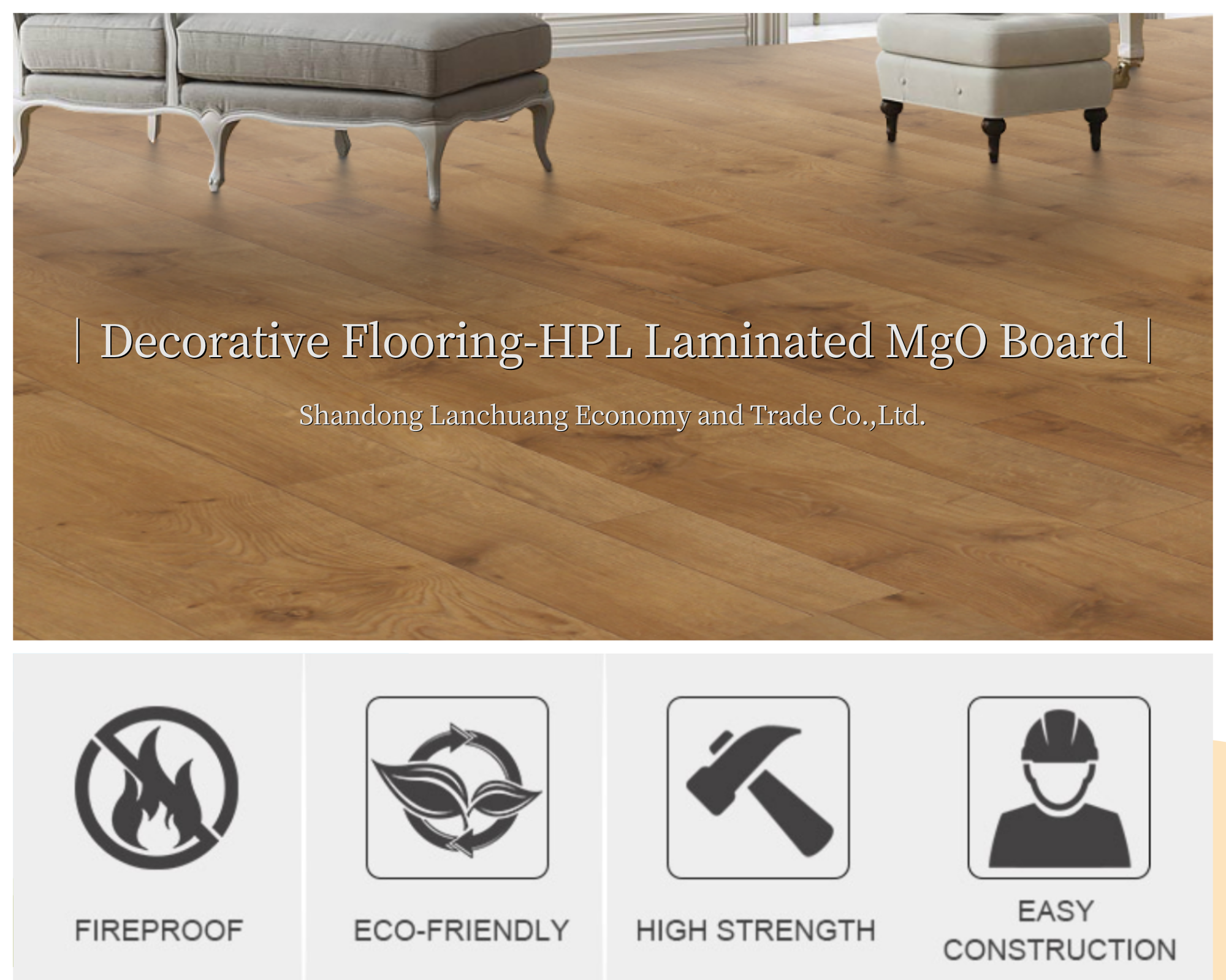 Flame-proof decorative composite flooring