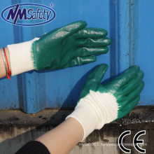 NMSAFETY interlock liner working gloves green nitrile 3/4 coated oil resistant glove