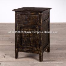Massivholz Distressed Finish 1 Schublade 1 Tür Nachttisch