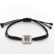 17cm Libre personalizado de dos dimensiones código con pulsera de cuero trenzado