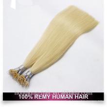 Extensão de cabelo Nano anel duplo cor loira desenhada