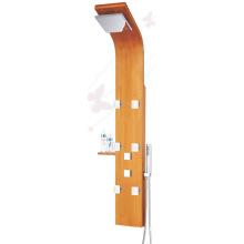 Thermostatique Bamboo Wood Massage Jets SPA Panneau de douche Multi Function Unit