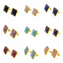 Natural Craved Pyramid Semi Precious Stone Stud Earrings