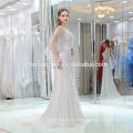 2017 на складе роскошные тяжелые бисером вечерние платья сексуальная милая воротник серебро вечернее платье с небольшим хвостиком