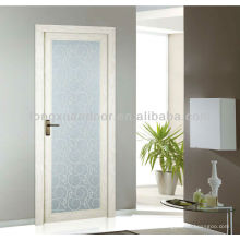 Puerta de toliet de cristal oscilante de aluminio, diseño de la puerta de la sala de baño de cristal lleno