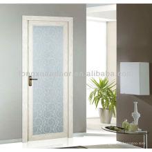 Porte à toire en verre battante en aluminium, conception de porte de salle de bain en verre pleine