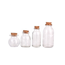 wholesale clear round 50ml 60ml 120ml Transparent Glass Pudding Bottle With Cork stopper