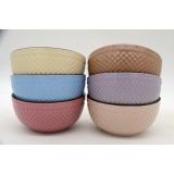 solid glaze embossed bowl