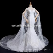 Appliqued Flowers Tulle Lace Mermaid muslim wedding gown