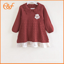 Baby Girl Fancy Polo Knit Sweater Dresses With Lace Hem