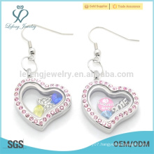 Cute design pink crystal heart charms earrings,magnetic stainless steel jewelry earrings