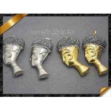 Nuevo Rhinestone pendiente del collar de la cabeza humana de la manera pavimentó la joyería de las mujeres (EF0104)
