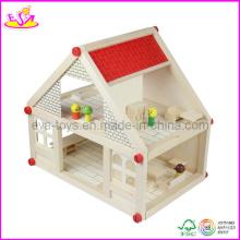 Maison de poupée en bois, avec 4 Set Mini Furntiures (W06A033) Maison de poupée Ooden Toy, populaire et chaud Vente Kids Furntiure en bois (W06A033)