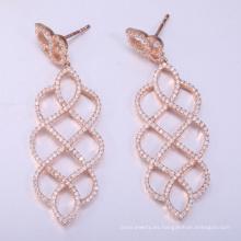 2018 pendientes de plata esterlina s925 más populares pendientes de oro rosa