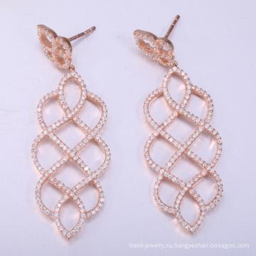 2018 самых популярных s925 стерлингового серебра серьги розовое золото серьги