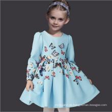 Schmetterlingsmuster Kleider Herbstmode Marke Kinder volle Hülse hellblaue medumn Baumwolle Winterkleidung Guangzhou Fabrik